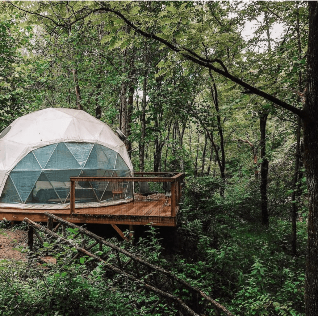 Bachelorette party 'glamps' in glamping unplugged dome